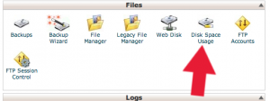 cPanel disk space