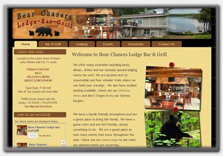 Restaurant and Bar Website Designs by Northwoods Web Designs