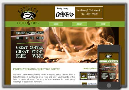 Coffee Cafe Shop Web Designs by Northwoods Web Designs